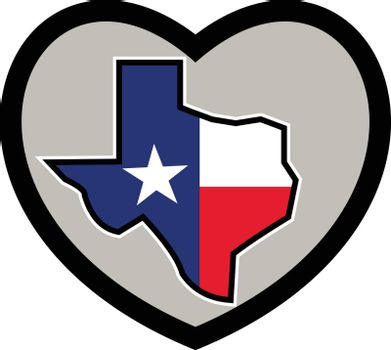 Icon style illustration of Texas Flag wrapped in state Map set Inside Heart on isolated background.