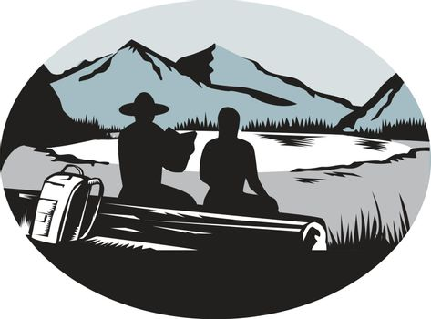 Ilustration of  two trampers campers sitting on a log, one is reading and the other is female with backpack leaning against the log, backdrop is meadow, small glacier lake framed in steep cliffs set inside oval shape done in retro woodcut style.
