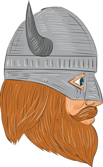 Drawing sketch style illustration of a norseman viking warrior raider barbarian head with beard wearing horned helmet viewed from the right side set on isolated white background.