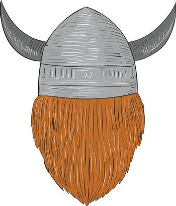 Drawing sketch style illustration of a norseman viking warrior raider barbarian head wearing horned helmet viewed from the rear set on isolated white background.