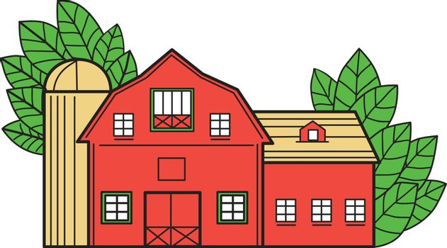 Mono line style illustration of a vintage american barn with leaves in the background set on isolated white background.