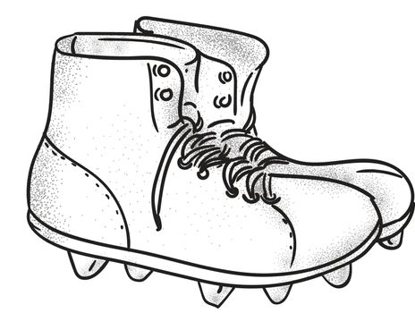 Drawing sketch style illustration of a vintage american football boots viewed from the side set on isolated white background.