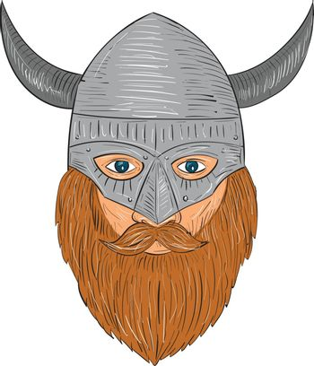 Drawing sketch style illustration of a norseman viking warrior raider barbarian head with beard wearing horned helmet viewed from front set on isolated white background.