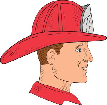Drawing sketch style of a fireman wearing vintage fireman fire fighter helmet viewed from the side set on isolated white background.