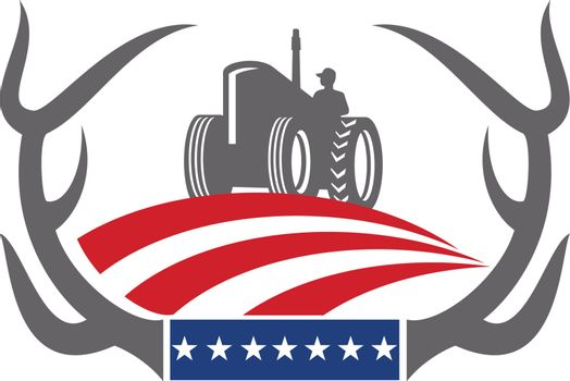 Retro style illustration of a whitetail deer Antler framing a Farm Tractor with American stars and stripes Flag on isolated background.