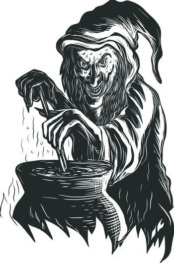 Scratchboard style illustration of a witch or sorcerer stirring magic brew pot practicing Witchcraft or witchery done on scraperboard on isolated background.