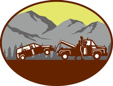 Illustration of a car being towed away, people in the car, child looking looking out the back window with man walking beside tow truck talking to driver set inside oval shape with mountain and trees in the background done in retro woodcut style.