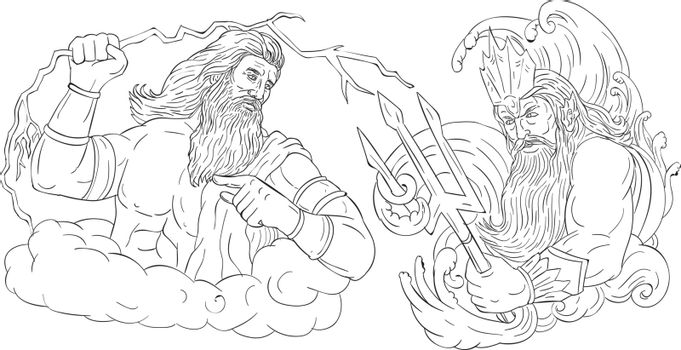 Drawing sketch style illustration of Zeus, Greek god of the sky and ruler of the Olympian gods wielding holding a thunderbolt lightning versus poseidon holding trident surrounded by waves viewed from the side set on isolated white background done in black and white.