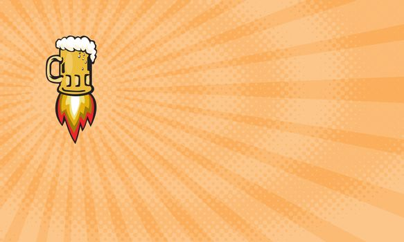 Business card showing Illustration of a beer mug with rocket burners blasting off done in retro style.