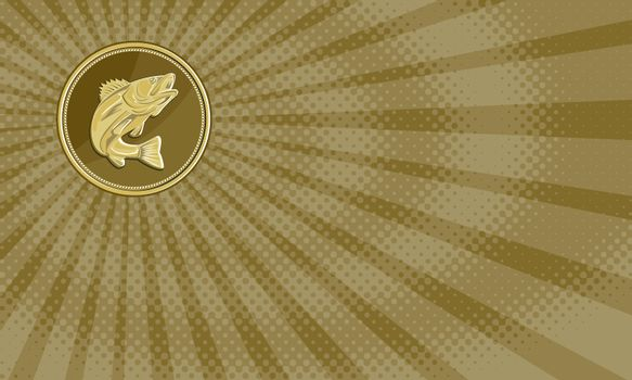 Business card showing Illustration of a barramundi or Asian sea bass (Lates calcarifer) jumping viewed from the side set inside gold brass coin medallion done in retro style.