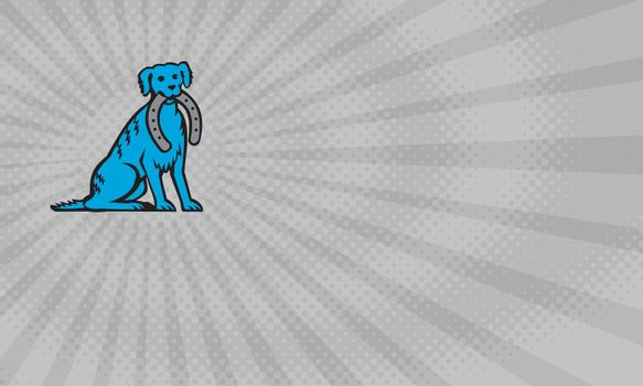 Business card showing Illustration of a blue merle dog sitting biting horseshoe viewed from front done in retro style.
