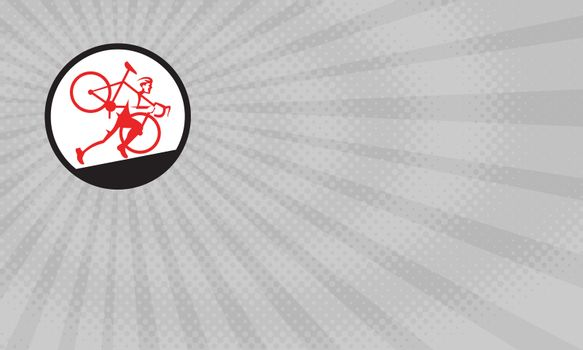 Business card showing Illustration of a cyclocross athlete carrying bicycle on shoulder running uphill viewed from the side set inside circle done in retro style.