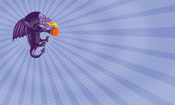 Business card showing Illustration of a purple dragon breathing fire clutching holding an orange basketball viewed from the side done in retro style.