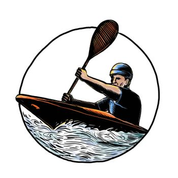 Scratchboard style illustration of kayak paddler with paddle paddling a canoe on white water set inside circle on isolated background.