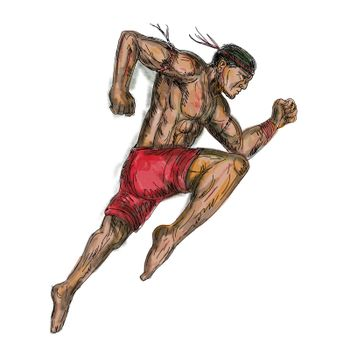 Tattoo style illustration of a muay thai asian Thai boxing fighter jumping about to kick viewed from side on isolated background.