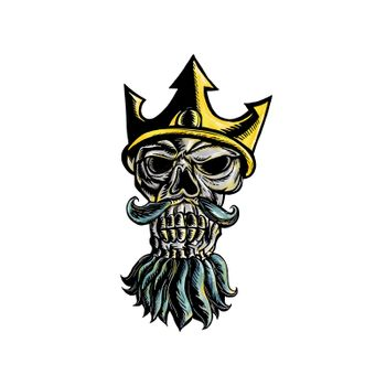 Woodcut style illustration of skull  head of Neptune, Poseidon or Triton wearing a trident crown with flowing beard front view on isolated background.