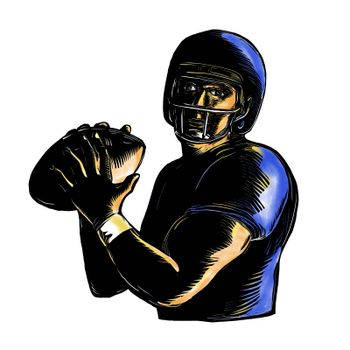 Scratchboard style illustration of an American football Quarterback about to Throw Ball  viewed from front on isolated background.