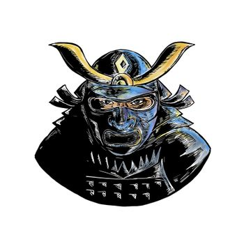 Woodcut style illustration of a samurai warrior wearing facial armor mask called mempo or mengu viewed from front