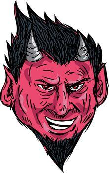Demon Horns Goatee Head Drawing