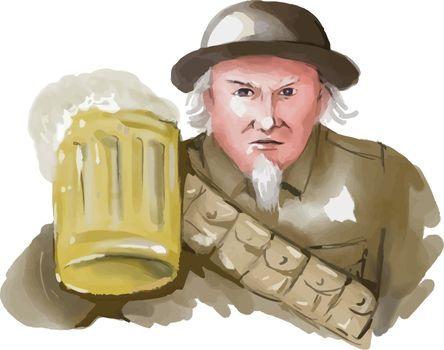 Uncle Sam WW1 Soldier Toasting Beer Watercolor