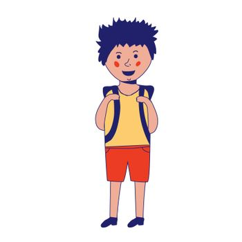 Happy caucasian schoolboy holding a book and waving his hand. Full length of smiling schoolboy making greeting gesture - waving hand. Vector sketch cartoon illustration isolated on white background