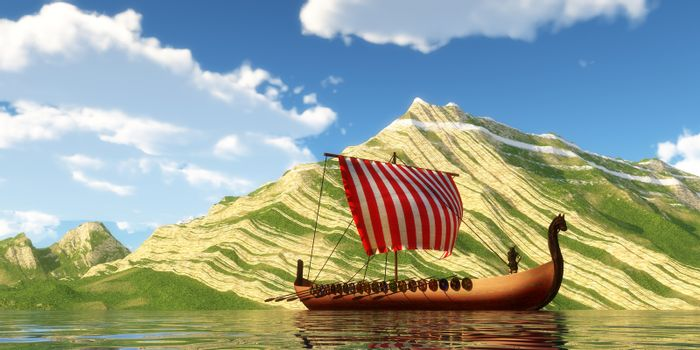 A Viking Ship and explorers sail past a mountain shoreline in a far off land on a sunny day.