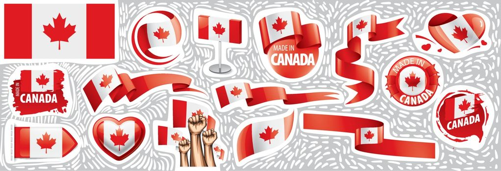 Vector set of the national flag of Canada in various creative designs.