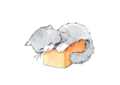 black and white kitten sleeping in a small cardboard box. watercolor hand painting for decoration in pet artwork advertising. isolated on white background.