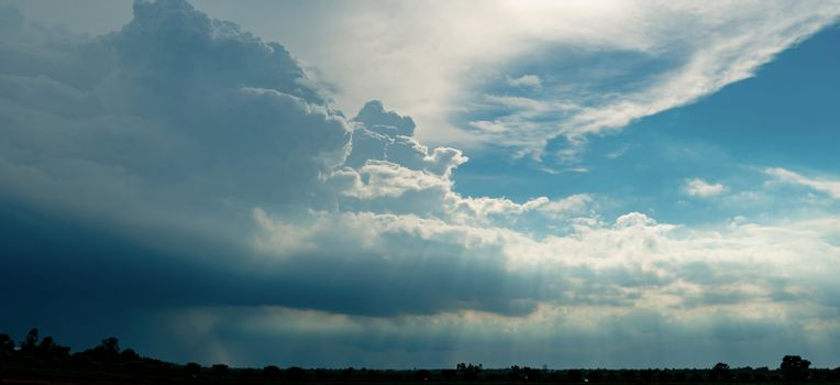 Heaven sky and white clouds. Heaven sky with god light. Spiritua