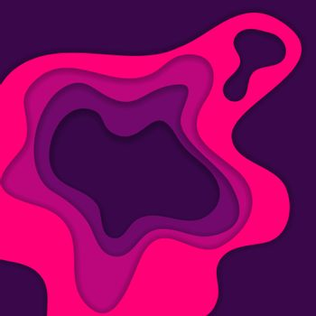 Abstract pink and purple 3D paper cut background. Abstract wave shapes. Vector format