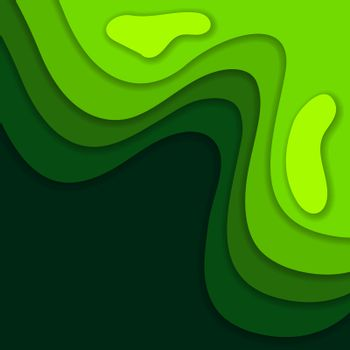 Abstract green 3D paper cut background. Abstract wave shapes. Vector format