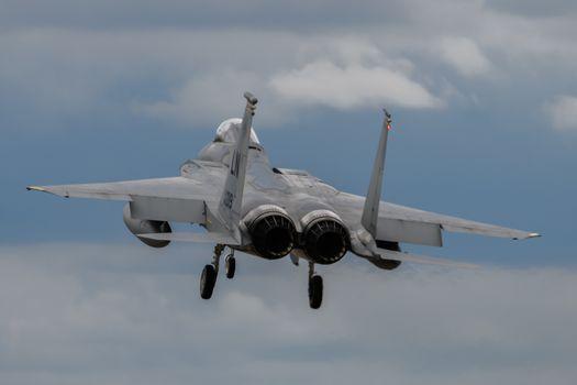 Boeing F-15 fighter jet landing at RAF Lakenheath in England