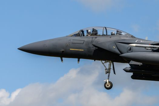 F-15 Eagle Jet on final approach to land at RAF Lakenheath
