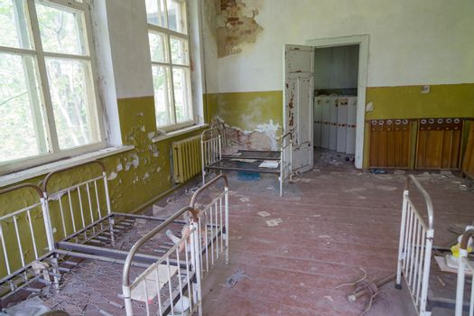Chernobyl zone. School premises in the city of Pripyat in Ukraine. Exclusion Zone.