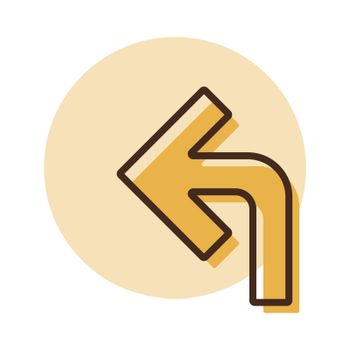 Turn left arrow vector icon. Navigation sign. Graph symbol for travel and tourism web site and apps design, logo, app, UI