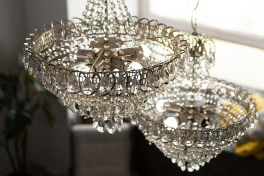 Beautiful crystal chandelier in a room