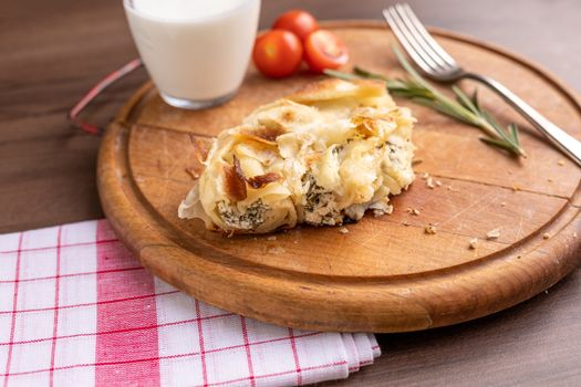 Traditional balkan breakfast - Burek pie with cheese and spinach