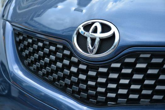 MANILA, PH - NOVEMBER 10 - Toyota vios emblem at Transknight transport show on November 10, 2018 in Manila, Philippines.
