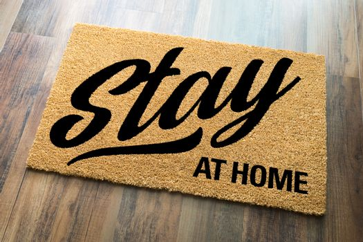 Stay At Home Welcome Mat On Floor.