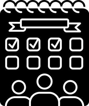 Campus events black glyph icon