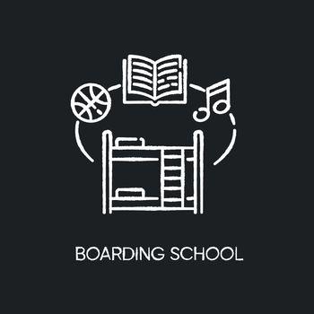 Boarding school chalk white icon on black background