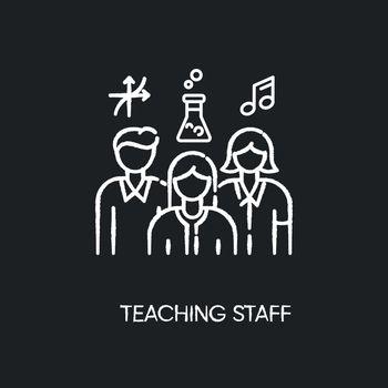 Teaching staff chalk white icon on black background
