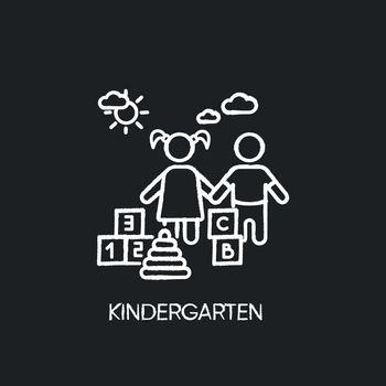 Kindergarten chalk white icon on black background