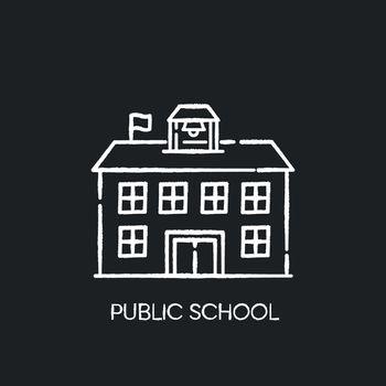Public school chalk white icon on black background