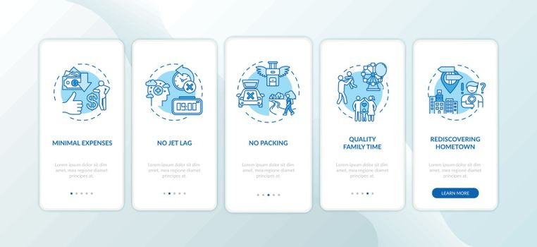 Advantages of staycation onboarding mobile app page screen with concepts. Rediscovering hometown. Walkthrough 5 steps graphic instructions. UI vector template with RGB color illustrations