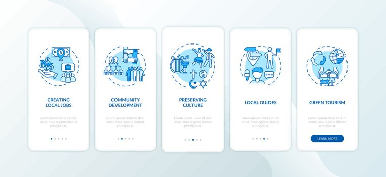 Benefits of local tourism onboarding mobile app page screen with concepts. Community development. Walkthrough 5 steps graphic instructions. UI vector template with RGB color illustrations