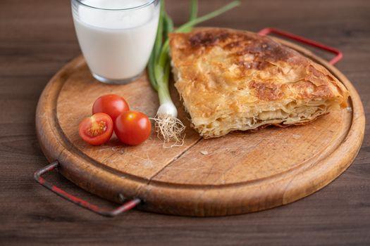 Traditional balkan meal - Burek or Borek pie with meat