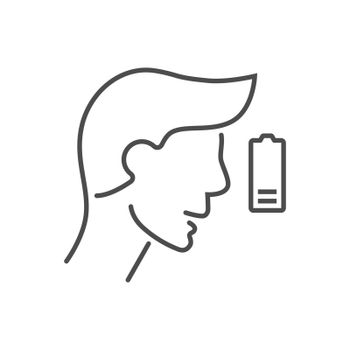 Fatigue related vector thin line icon