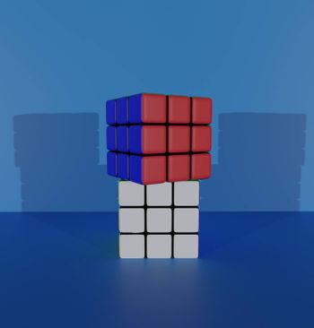 rubik's cube 3d render. Abstraction illustration. puzzle cube