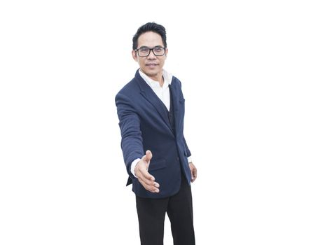 Asian business man hand shaking isolate on white background